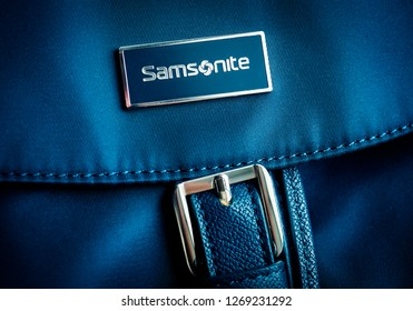 MOSCOW - DECEMBER 28, 2018: Samsonite label on a backpack. Samsonite International is an American luggage manufacturer and retailer