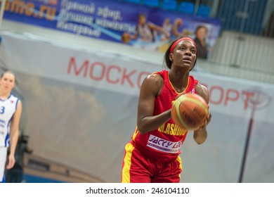 MOSCOW - DECEMBER 4, 2014: L. Jackson (12) on free throw oi the International Europe bascketball league match Dynamo Moscow vs Maccabi Ashdod Israel in sport palace Krilatskoe, Moscow, Russia.