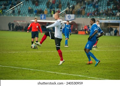 MOSCOW - DECEMBER 7: Some players on the football match on Russian Premier League Dynamo (Moscow) (blue) vs Amkar (Perm) (White) on December 7, 2014, in Moscow, Russia. Dynamo won 5: 1