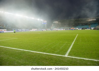 """MOSCOW - DECEMBER 7: stadium """"Arena Khimki"""" during the game on Russian Premier League Dynamo (Moscow) vs Amkar (Perm) on December 7, 2014, in Moscow, Russia"""