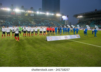MOSCOW - DECEMBER 7: Unidentified players Before the football match Dynamo (Moscow) vs Amkar (Perm) on Russian Premier League on December 7, 2014, in Moscow, Russia. Dynamo won 5: 1