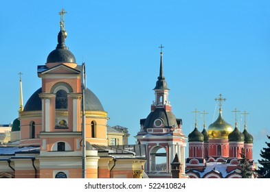 Moscow, domes of ancient churches on Varvarka street