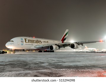 Moscow, Domodedovo International Airport, Russia - Nov 11, 2016: Airbus A380-861 A6-EDT Emirates airlines taxing after landing at Domodedovo International Airport at night