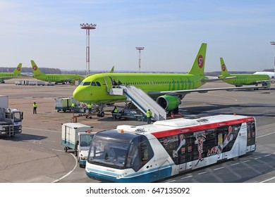 Moscow Domodedovo, RUSSIA - APRIL 24, 2017: The aircraft of S7 airlines prepares for takeoff
