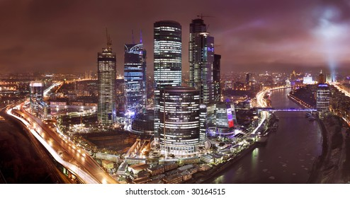 Moscow downtown view in rainy weather