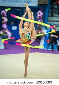 MOSCOW - Feb 20:  Averina Dina performs at Rhythmic Gymnastics Grand Prix , in Moscow on February 20, 2016