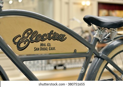 MOSCOW - FEB 23: Electra Bicycle in Moscow on February 23. 2016 in Russia. Company is a bicycle manufacturing company based in Vista, California, US.