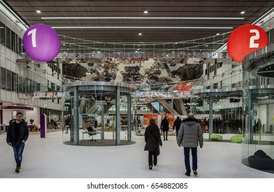 Moscow. February 15, 2017. Innovation Center Skolkovo. People pass through the central hall in the building of the technopark.