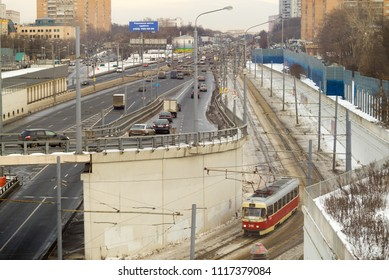 MOSCOW – FEBRUARY 2, 2015: Top view on vanishing Volokolamskoe Shosse Street with traffic on February 2, 2015 in Moscow.