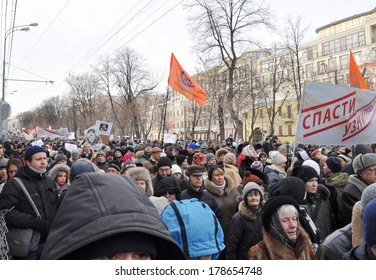 MOSCOW - February 2: Participants take part during the March of protest against political repressions in support of political prisoners on February 2, 2014 in Moscow.