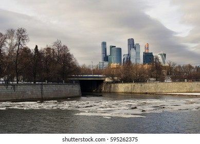 MOSCOW - FEBRUARY 28, 2017: Moscow City business offices and apartments complex in Moscow city center, popular touristic landmark, example of modern architecture. Color photo.
