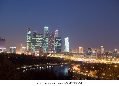Moscow International Business Center (Moscow City) at night. View from the observation platform on the Sparrow Hills. Moscow, Russia.