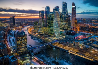 "Moscow International Business Center (MIBC) also known as ""Moscow City"". Moscow, Russia on February 19, 2018"