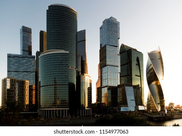 Moscow International Business Center (Moscow-city) at sunrise. View from the embankment of Taras Shevchenko