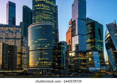 Moscow International Business Center or Moskva-City at night, Moscow, Russia. It is a business district in central Moscow. New tall buildings of Moscow close-up. Modern skyscrapers in evening.