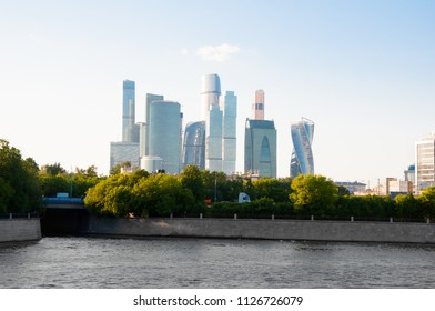 The Moscow International Business Centre from modern Luzhnetskaya embankment along Moscow River Moscow, Russia.