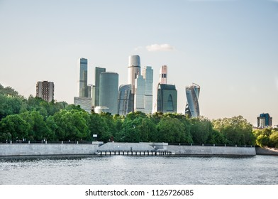 The Moscow International Business Centre from modern Luzhnetskaya embankment during the midday, Russia.
