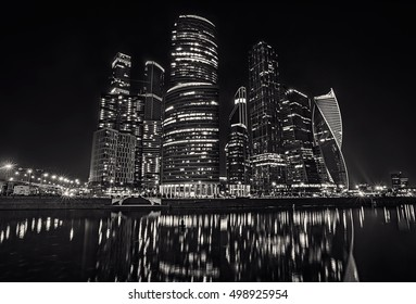 Moscow international business centre (Moscow-city) at night. View from the embankment. (Russia) Monochrome image.