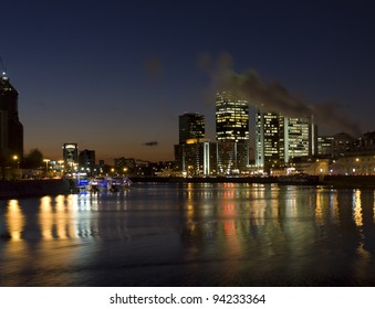 """Moscow, """"International business centre"""" at night on bank of Moscow-river."""
