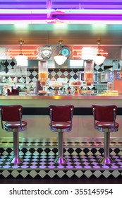 MOSCOW - JAN 21, 2015: Bar counter at the American restaurant Beverly Hills Diner