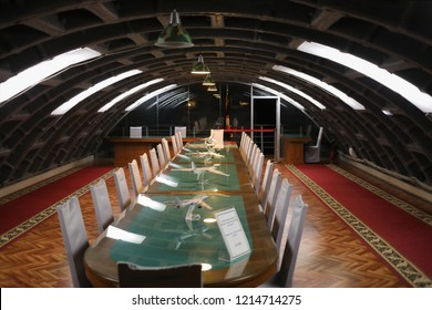 MOSCOW - JAN 6, 2018: Meeting room in Bunker 42 Museum of the Cold War - military history museum and entertainment complex was founded in 2006