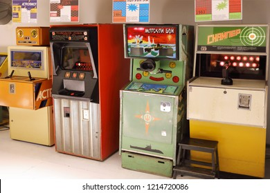 MOSCOW - JAN 8, 2018: Machines in Museum of Soviet slot machines