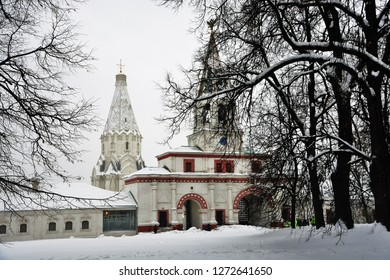 MOSCOW - JANUARY 02, 2019: Ascension cathedral in Kolomenskoye park in winter. Popular landmark.