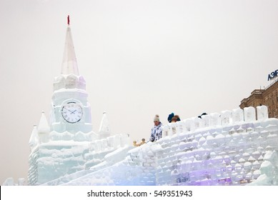 MOSCOW - JANUARY 05, 2017: Ice figures shown on Poklonnaya Hill in Moscow. Figures represent different landmarks of Russia. Christmas and New Year decoration. Color photo.
