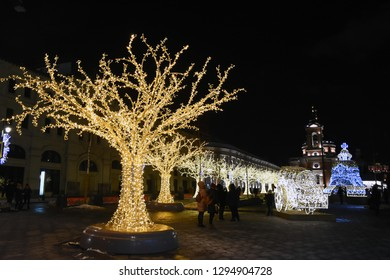 MOSCOW -  JANUARY 09, 2019: Christmas decorations in Zaryadye park in Moscow. Popular landmark. Color photo.
