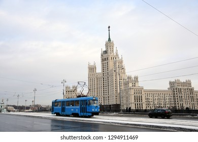 MOSCOW - JANUARY 09, 2019: View of a living house on Kotelnicheskaya embankment. One of the famous empire style skyscrapers, popular landmark.
