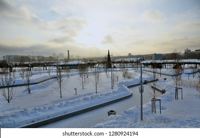 MOSCOW - JANUARY 10, 2019: Tuffel Grove. New public park and place for rest open in 2018 in Moscow central area named ZIL. Popular landmark. Color winter photo.