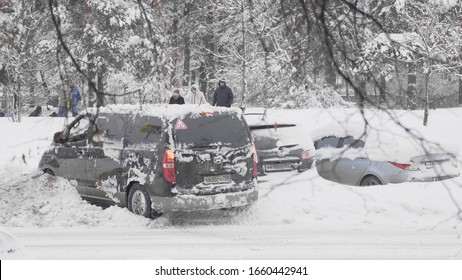 MOSCOW - January 10: car stuck in a snowdrifton January 10, 2018 in Moscow, Russia