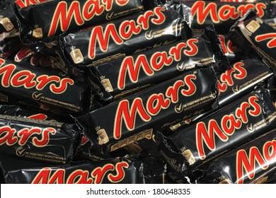 MOSCOW - JANUARY 12, 2014: Closeup of many Mars candy chocolat bars