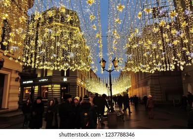 MOSCOW - JANUARY 14, 2018: Christmas decorations on Nikolskaya street, in Moscow city historic center. Popular landmark. Color evening photo.