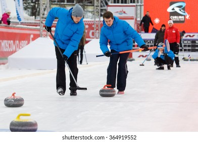 MOSCOW - JANUARY 17, 2016: Kirill Savenkov (L) and Alexey Kulikov (R) in action on Russian Curling Champions Tour Moscow Classic 2016 on January 17, in Moscow, Russia, 2016