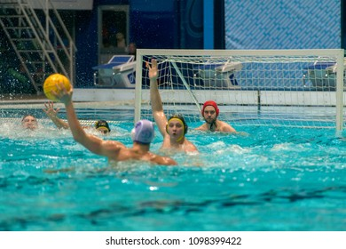 MOSCOW - JANUARY 19, 2018: Unidentified players in action in the game Semifinal match of the Cup of Russia in water Polo between Dynamo-Moscow (white) vs Shturm -2002, in the sports complex Olympic