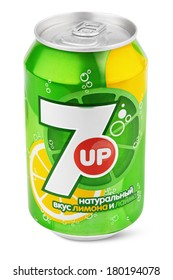 MOSCOW - JANUARY 21, 2014: Closeup of aluminum can of 7up produced by PepsiCo Inc.