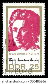 MOSCOW, January 23, 2016: GERMANY - CIRCA 1971: A stamp printed in the Germany shows Rosa Luxemburg - Marxist theorist, philosopher, economist and activist of Polish Jewish, circa 1971
