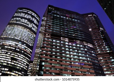 MOSCOW - JANUARY 25, 2018: Moscow City business and apartments center. Popular landmark, example of modern Moscow architecture. Color evening photo.