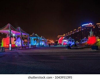 MOSCOW - JANUARY 25, 2018: Ice figures shown on Poklonnaya Hill in Moscow. Figures represent different landmarks of Russia. Christmas and New Year decoration.