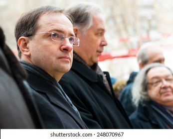 MOSCOW - JANUARY 27, 2015: Russian Minister of Culture Vladimir Medinsky (left) is present at a ceremony marking the start of construction of a cultural center on january 27, 2015 in Moscow, Russia.