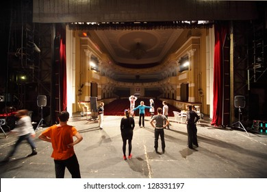 MOSCOW - JANUARY 27: Actors rehearse at Palace on Yauza on January 27, 2012 in Moscow, Russia.