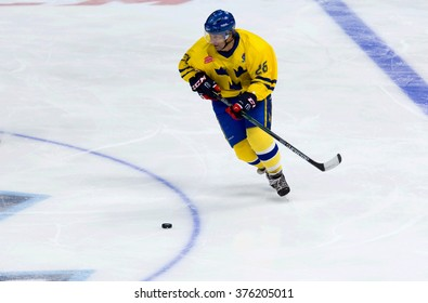 MOSCOW - JANUARY 29, 2016: Mats Naslund (26) in action during hockey game Sweden vs Czech on League of World legends of Ice hockey championship in VTB ice arena, Russia. Czech won 8:2