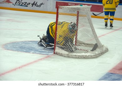 MOSCOW - JANUARY 29, 2016: Swedish team Goalkeeper Rolf Wanhainen (30) on hockey game Sweden vs Czech Republic on World Legends hockey league  in sports complex VTB Ice Palace Moscow, Russia.