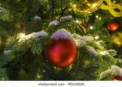 Moscow  journey to Christmas holiday. Christmas and New Year decoration in Moscow city, Russia, christmas tree with toys and christmas balls,  closeup.
