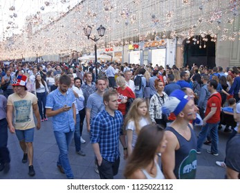 MOSCOW, July 01, 2018. A team of fans the victory of the Russian national team over Spain. The period of the International FIFA World Cup 2018 in Moscow. Nikolskaya street.