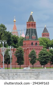MOSCOW - JULY 05, 2015: View of the Moscow Kremlin, a popular touristic landmark. UNESCO World Heritage Site.