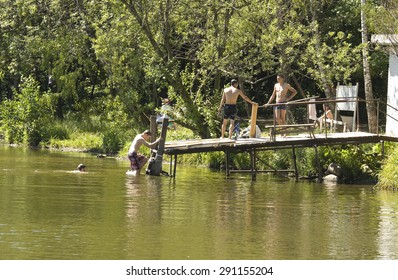 MOSCOW - JULY 07, 2014: people rest in park Izmaylovsky, the biggest park of Europe.