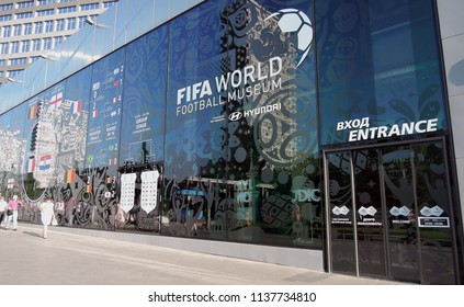 MOSCOW - JULY 15, 2018: Entrance facade of FIFA football museum on New Arbat street in Moscow. Popular landmark.