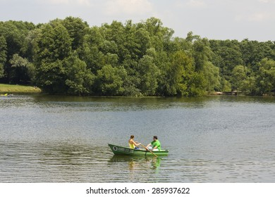 MOSCOW - JULY 16, 2014: people rest in park Kuzminki, founded in 1977 on territory of mansion of prince Golitsin.